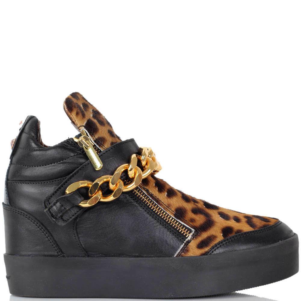 Кожаные сникерсы Alexander Smith черного цвета со вставкой с леопардовым принтом
