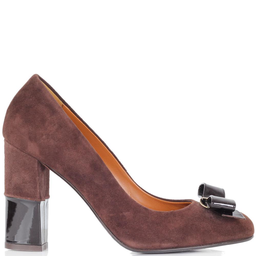 Замшевые туфли Vittorio Virgili коричневого цвета на устойчивом каблуке