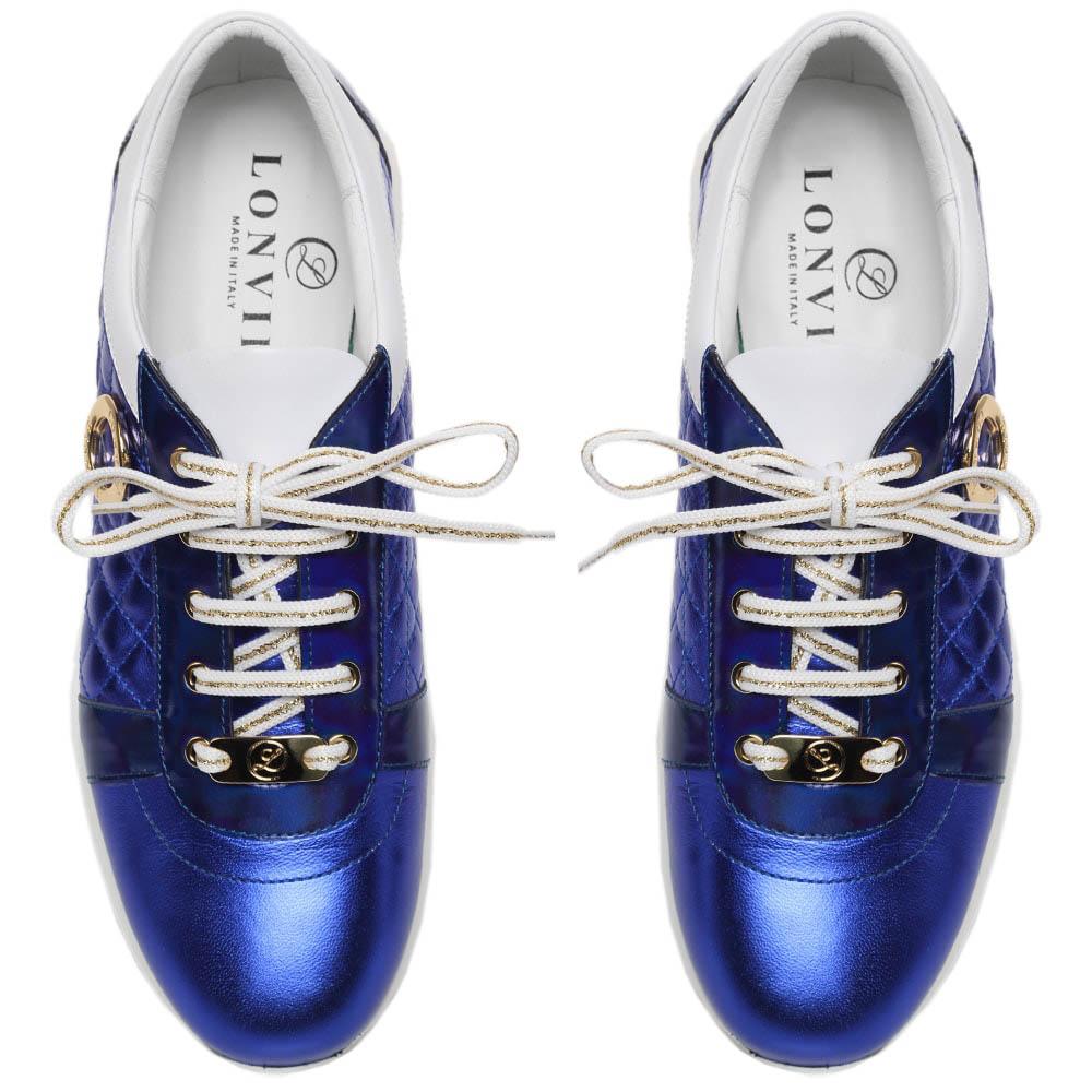 Кожаные кроссовки синего цвета с металлическим блеском Lonvie
