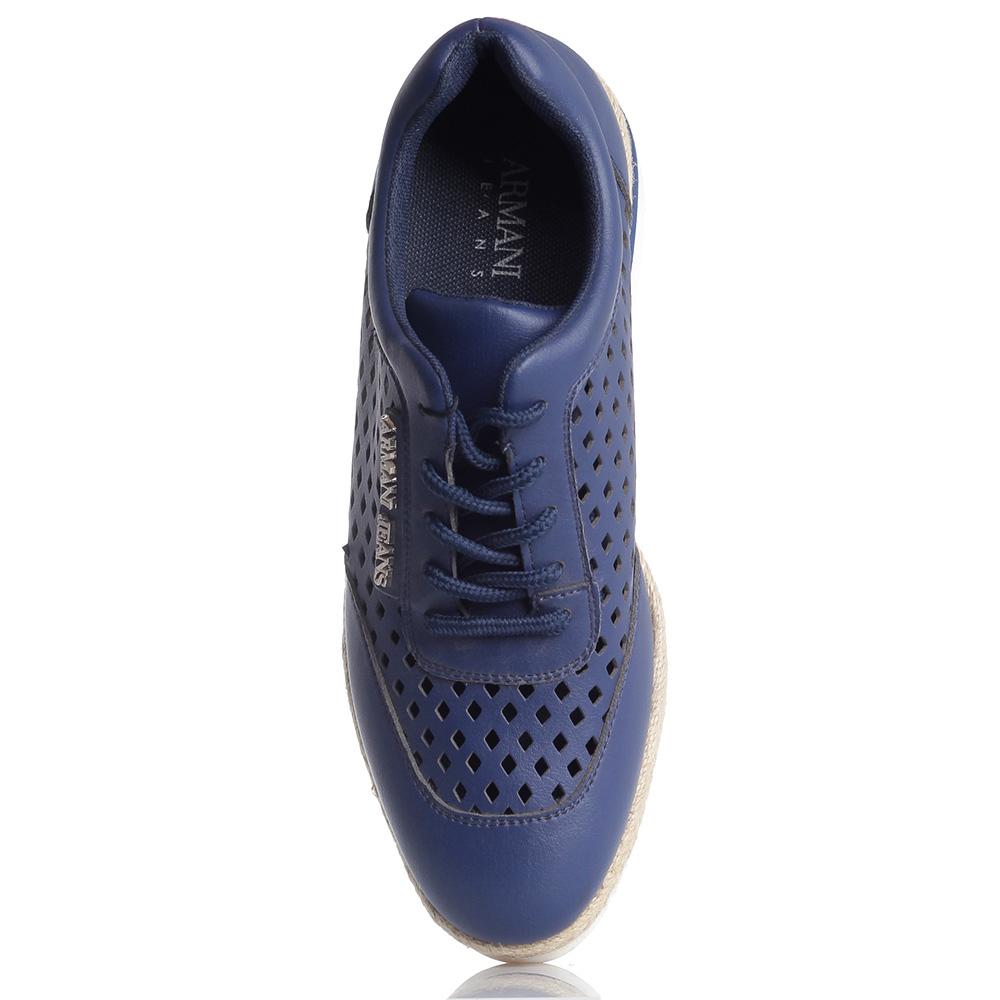 Синие эспадрильи Armani Jeans с перфорацией