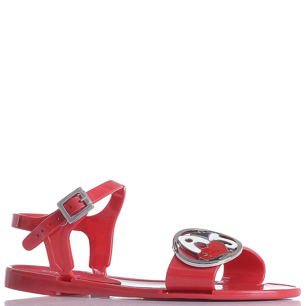 Красные сандалии Armani Jeans с металлическим декором