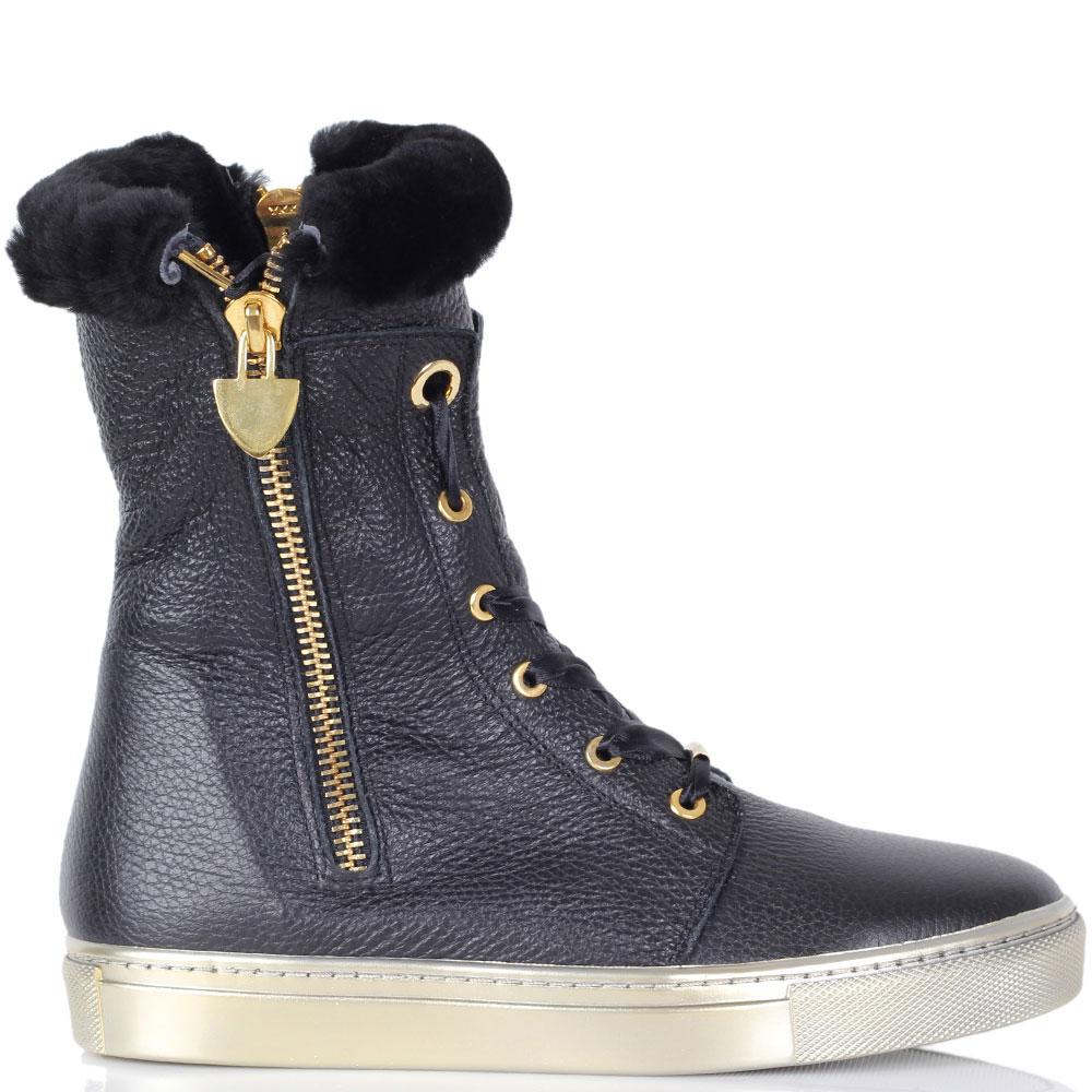 Зимние кожаные ботинки Trend BB черного цвета на золотистой подошве