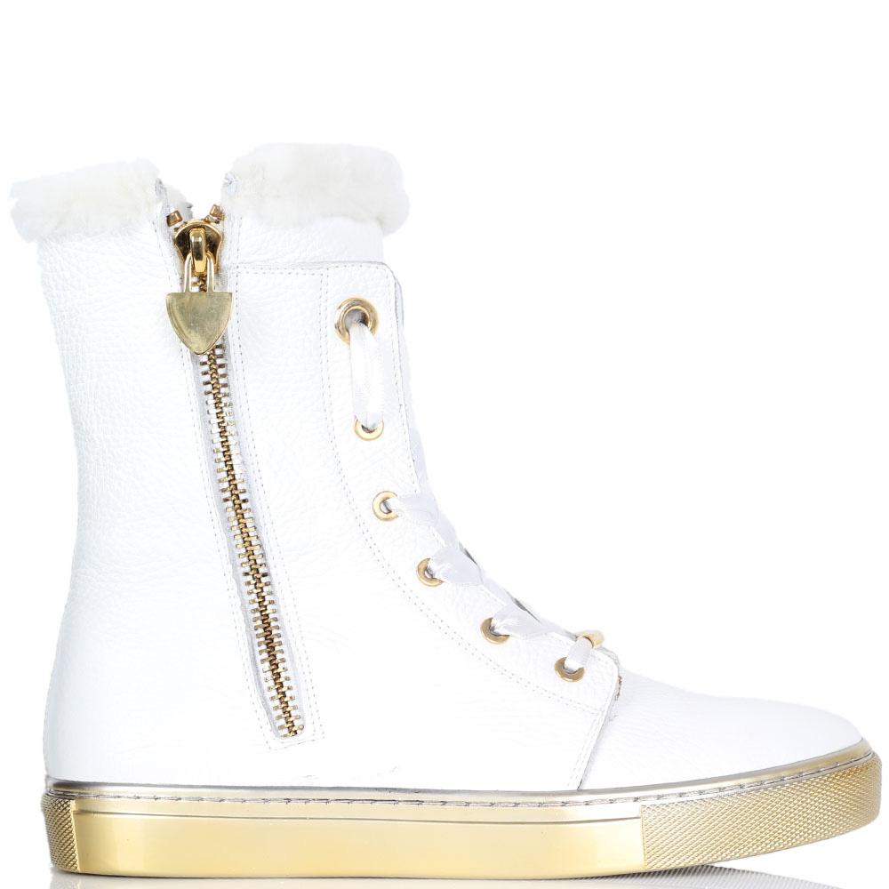 Кожаные ботинки Trend BB белого цвета на меху