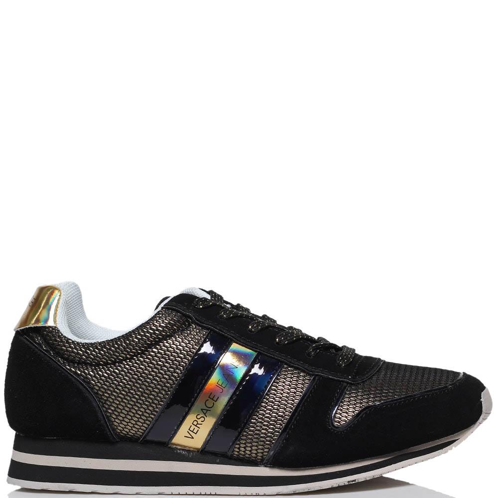 Кроссовки из лаковой кожи черного цвета Versace Jeans с золотистыми вставками из текстиля