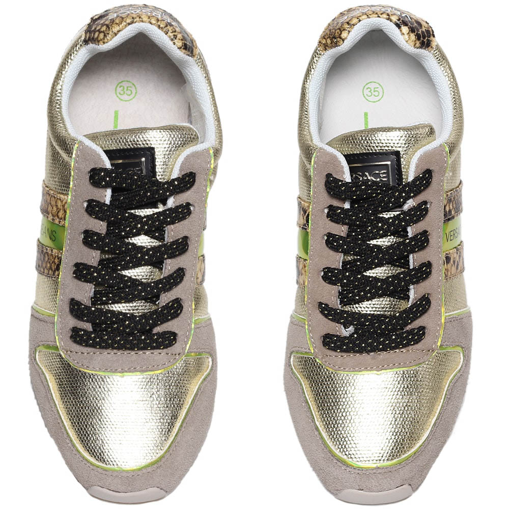 Кроссовки из замши бежевого цвета с золотистыми кожаными вставками Versace Jeans