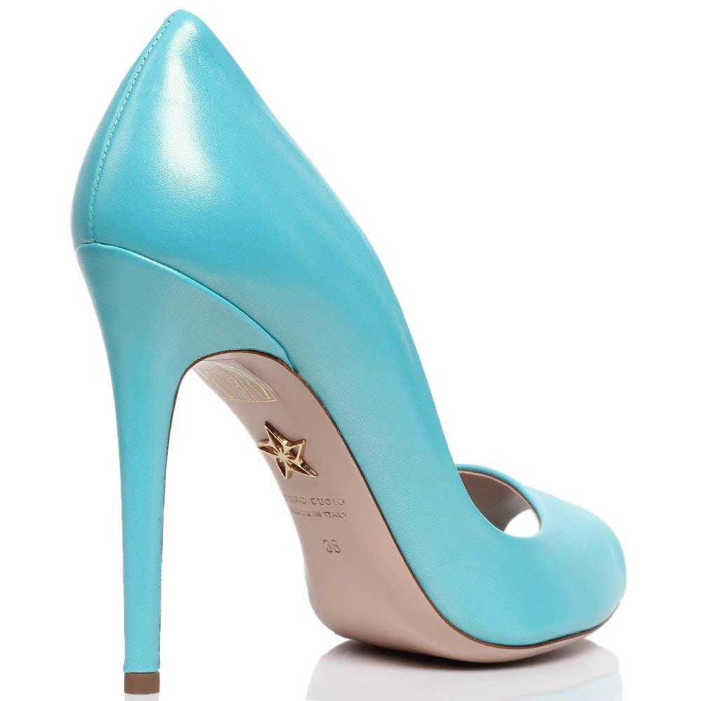 Туфли-лодочки с открытым носочком из кожи голубого цвета Violavinca