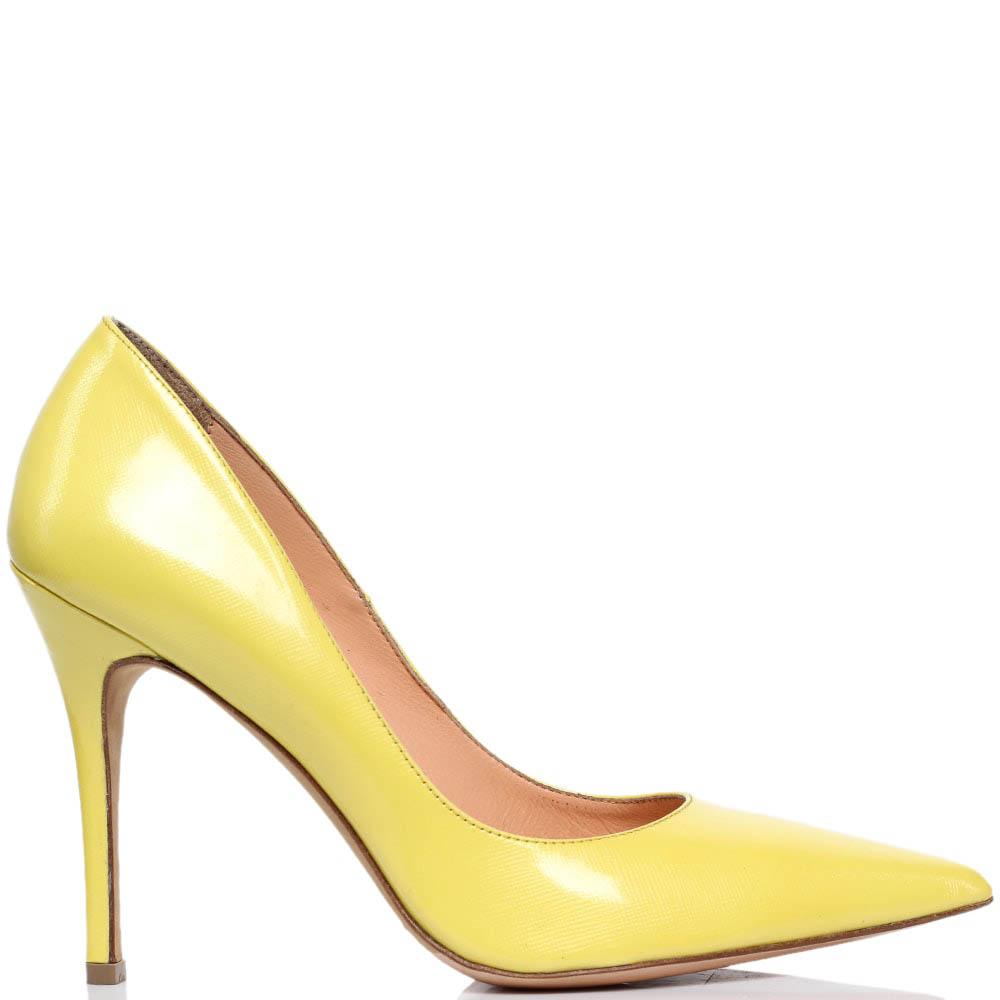 Лодочки из кожи с лаковым блеском желтого цвета MAC Collection