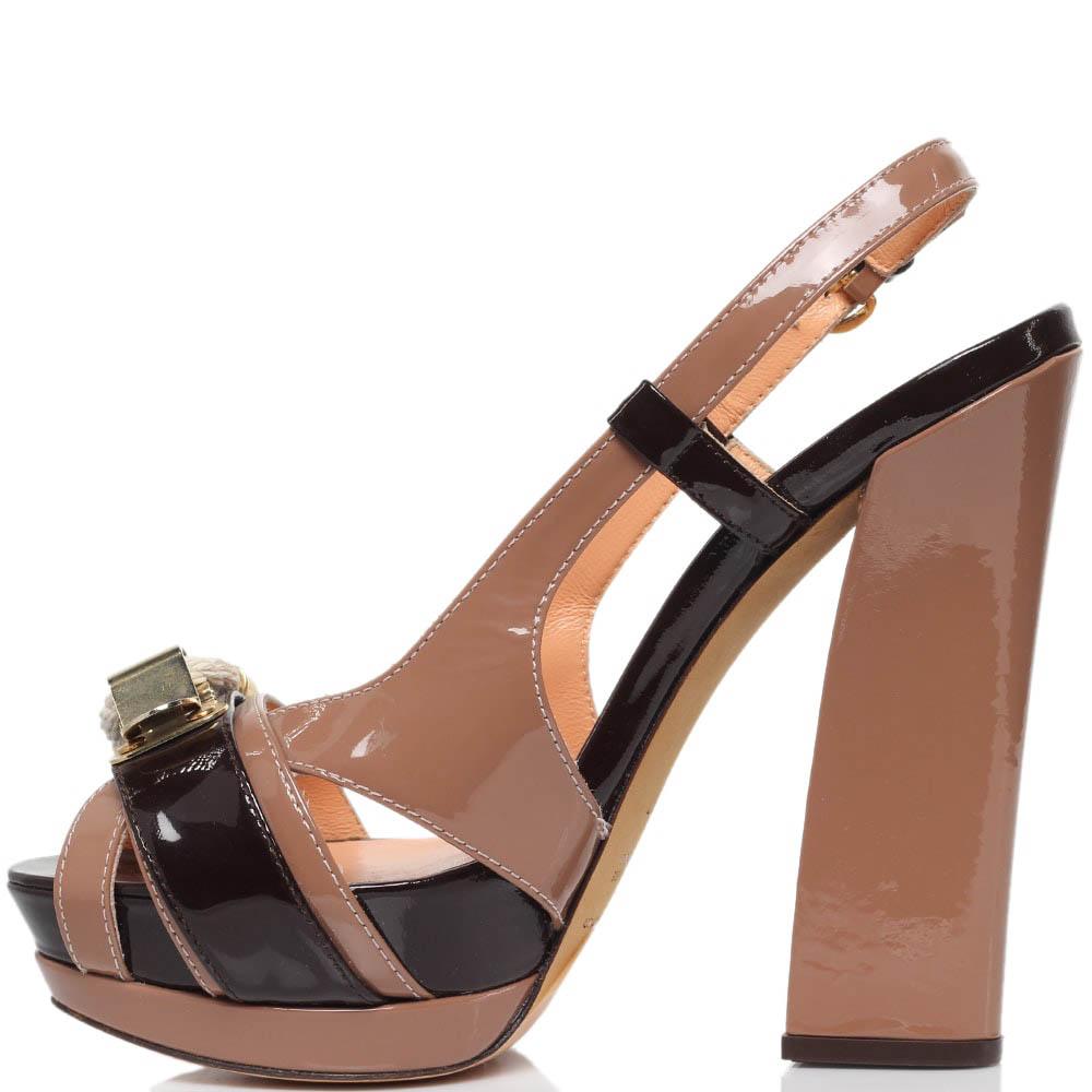 Босоножки из лаковой кожи коричневого цвета MAC Collection на высоком каблуке и платформе