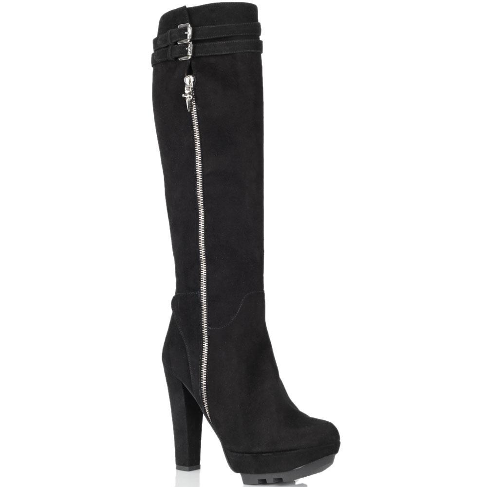 Замшевые сапоги Cesare Paciotti черного цвета на высоком каблуке