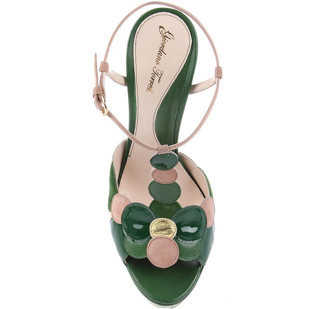 Босоножки Giordano Torresi Ibiza зеленого цвета на высоком изогнутом каблуке