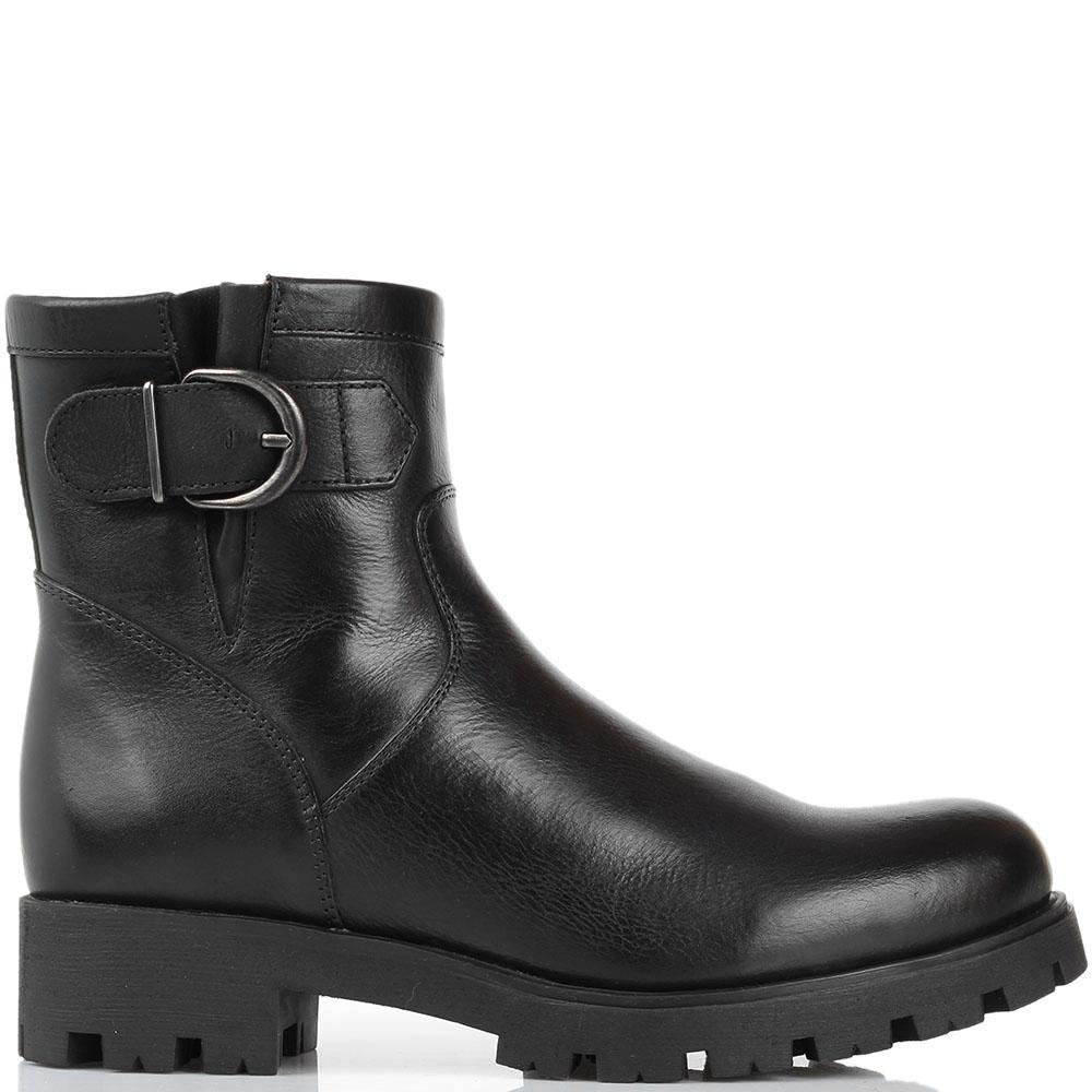Кожаные ботинки Unisa черного цвета на рельефной подошве