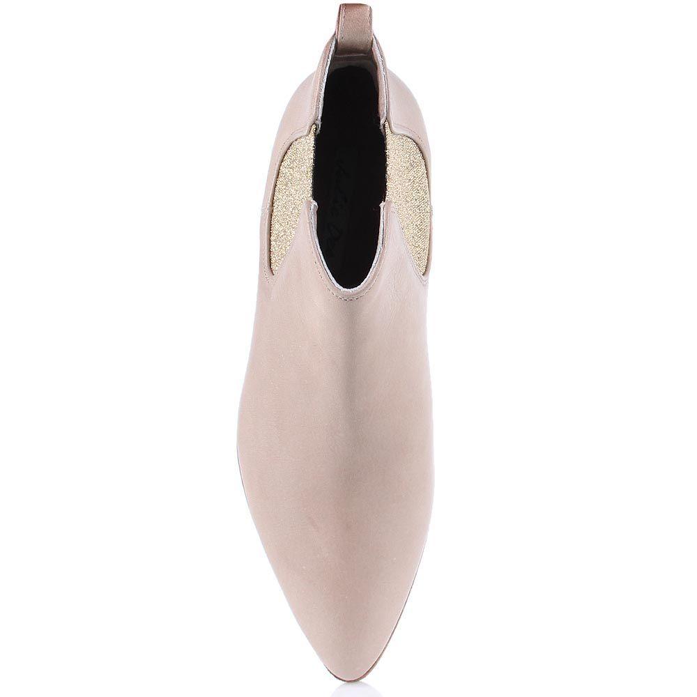Женские ботинки The Seller Julie Dee из натуральной кожи бежевого цвета