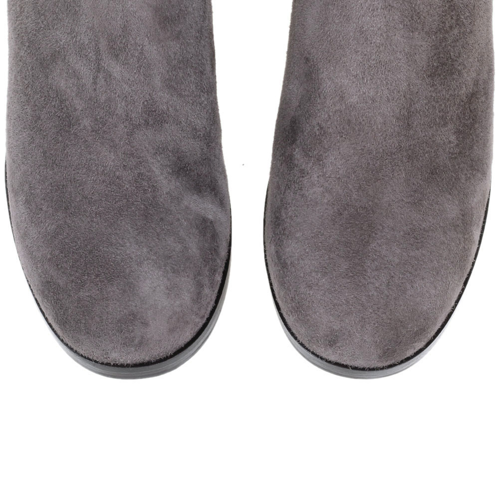 Ботфорты из замши The Seller Jullie Dee серого цвета на толстом каблуке