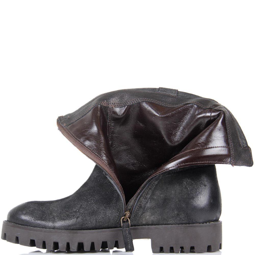 Ботинки The Seller JD черного цвета из замши с бахромой и подошвой коричневого цвета
