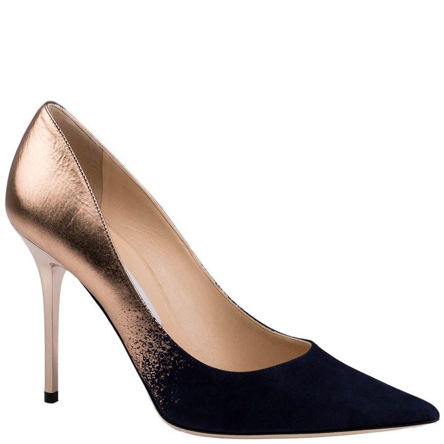 Туфли-лодочки Jimmy Choo бронзового цвета с замшевым носком синего цвета