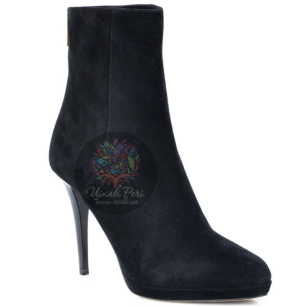 Ботинки Jimmy Choo осенние черные замшевые на лаковой шпильке