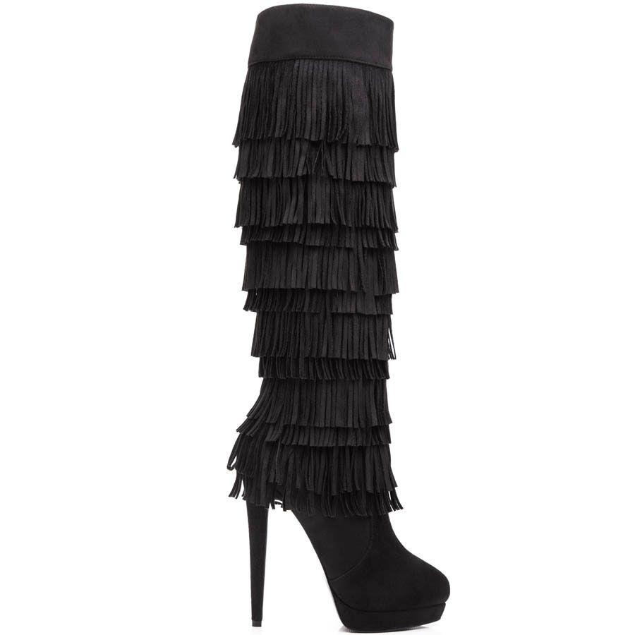 Замшевые сапоги Kandee черного цвета с многослойной бахромой
