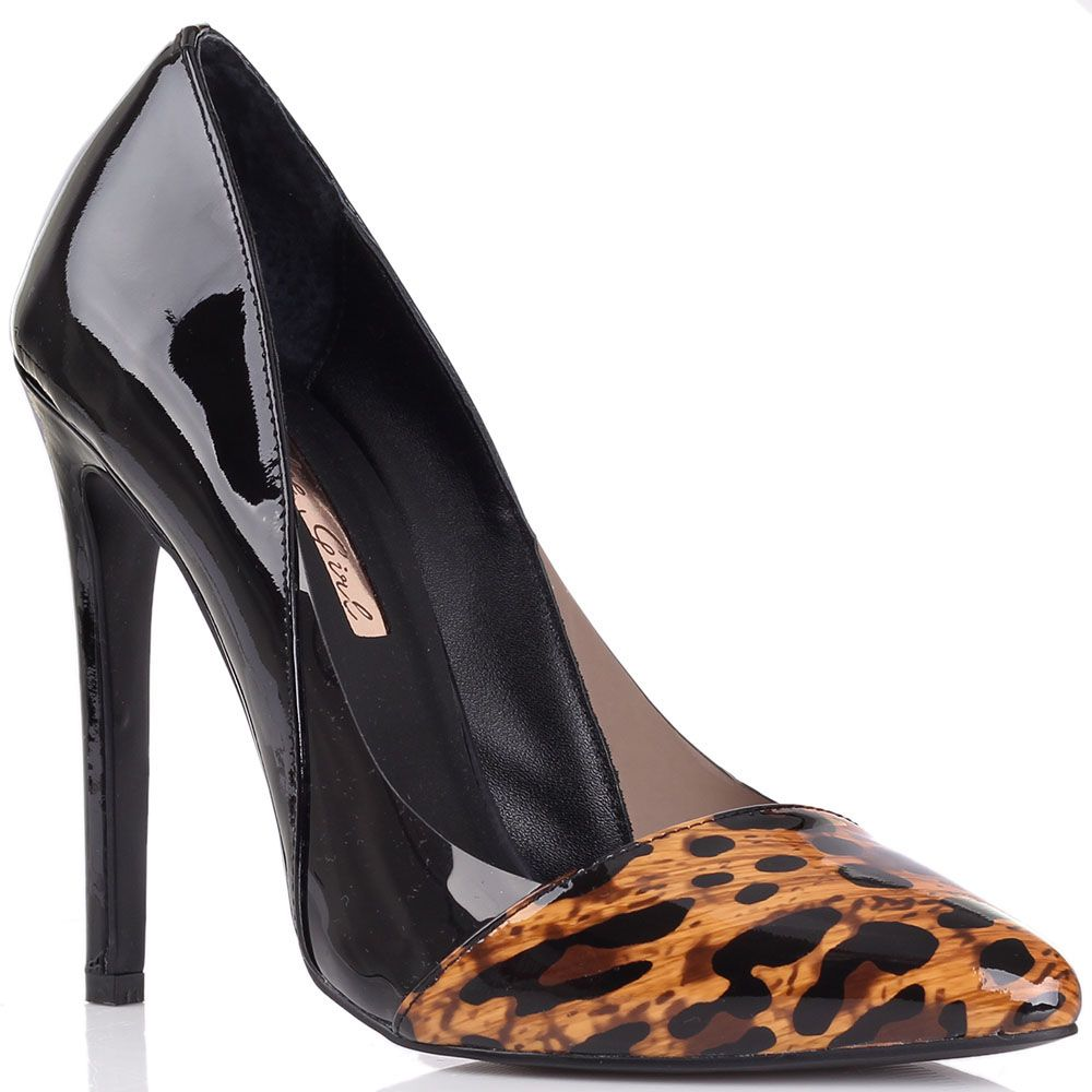 Туфли-лодочки Kandee лаковые черного цвета с леопардовым принтом на носке и прозрачной вставкой