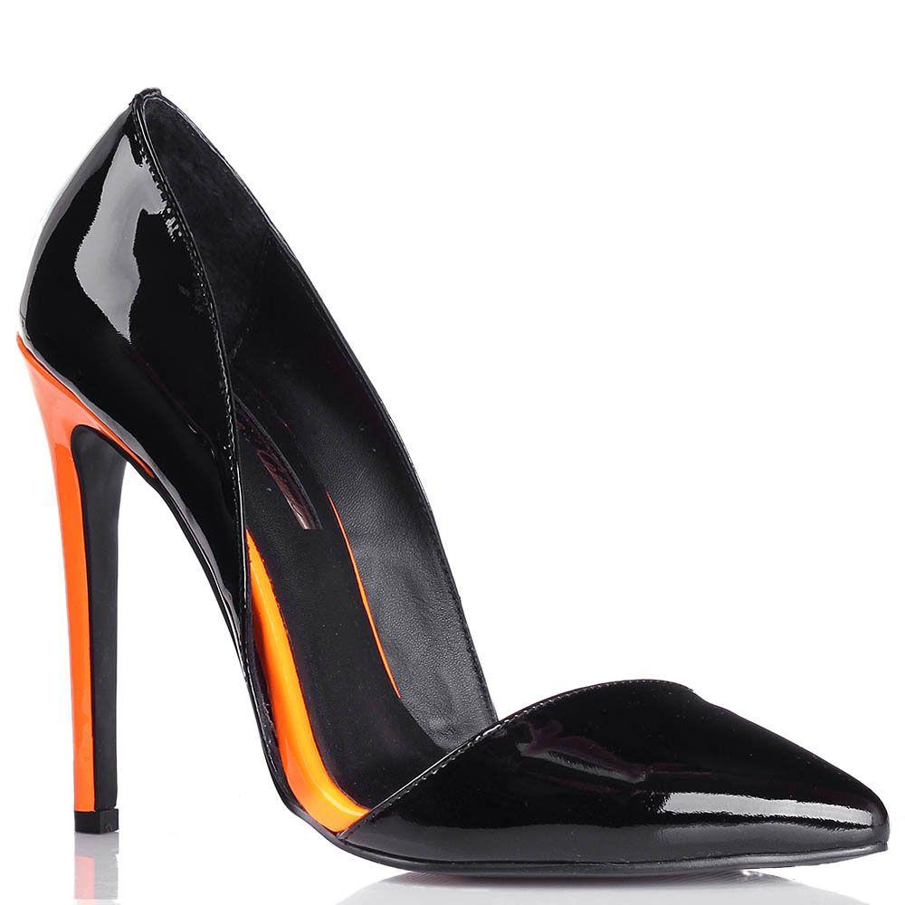 Туфли-лодочки Kandee лаковые черного цвета с каблуком ярко-оранжевого цвета