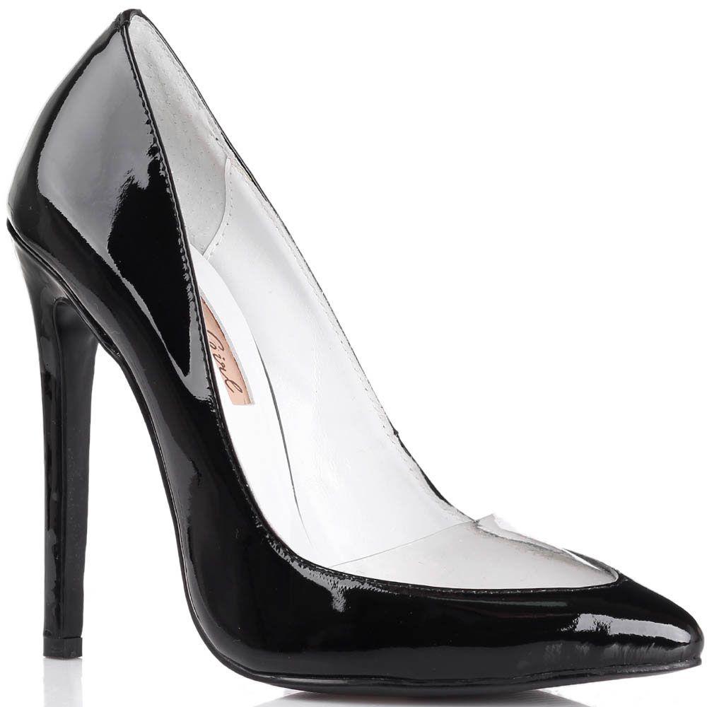 Туфли-лодочки Kandee лаковые черного цвета с прозрачной вставкой на носочке