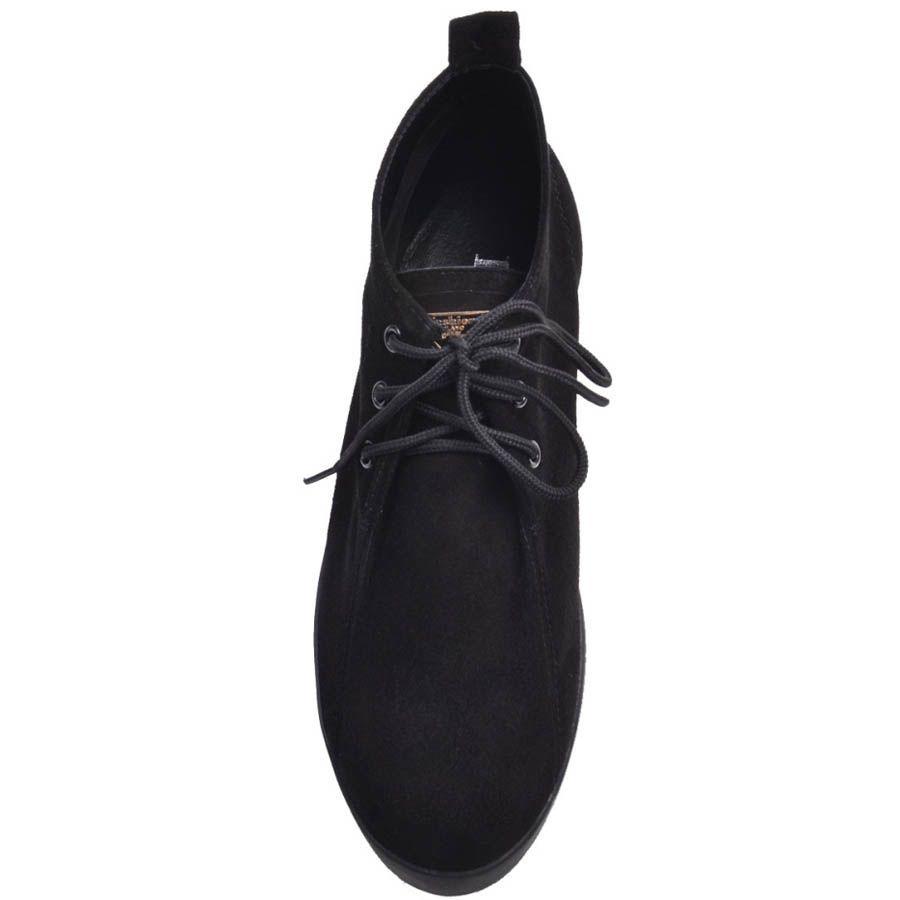 Ботинки Prego черного цвета замшевые на плоской подошве и со шнуровкой