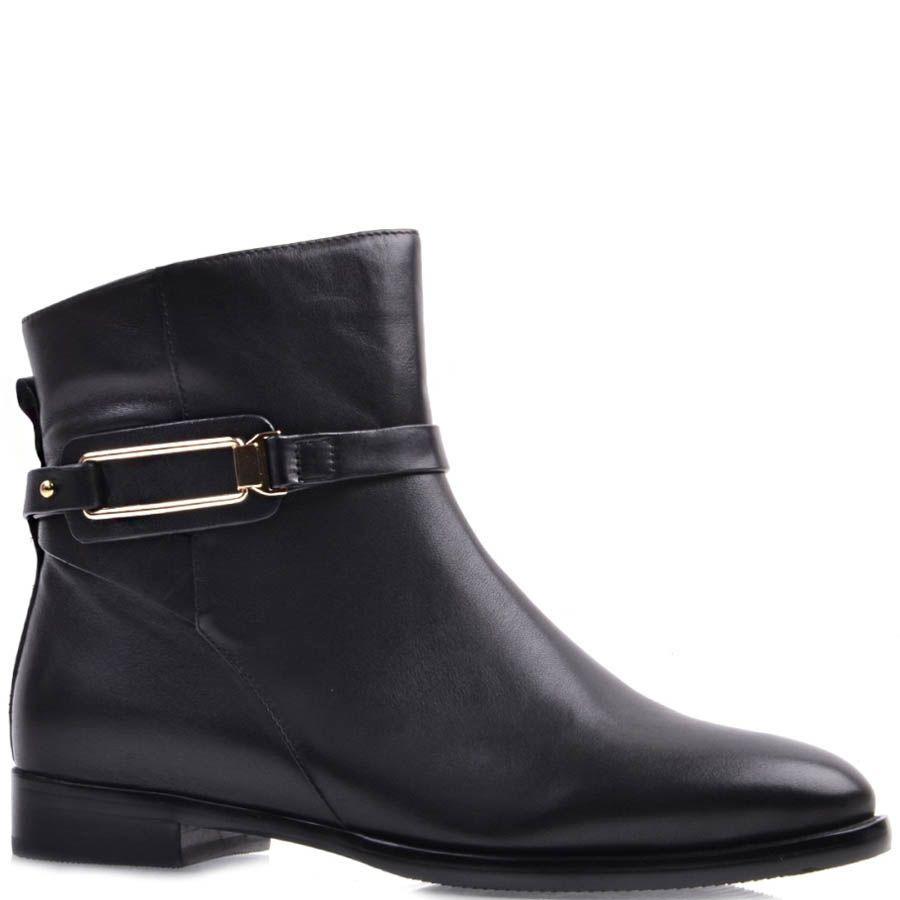 Ботинки Prego черного цвета кожаные с узким носком и прямоугольной металлической вставкой