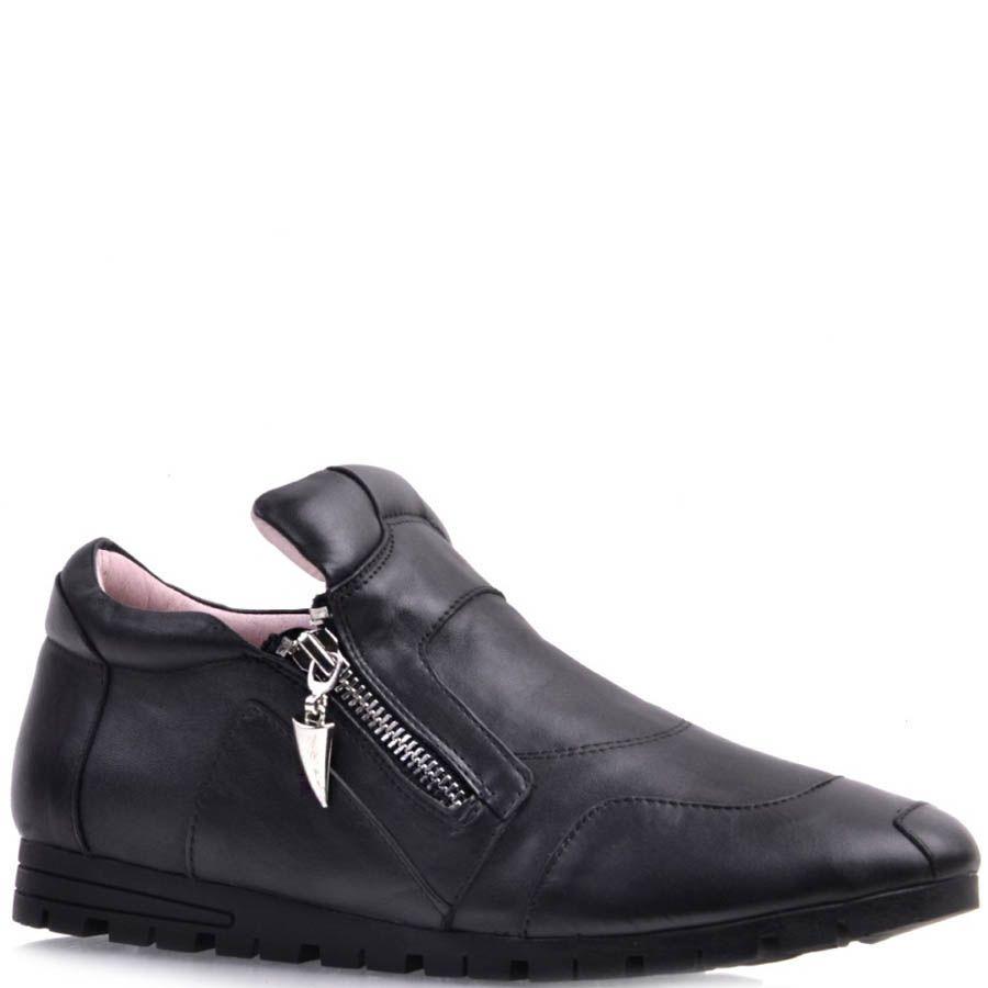 Ботинки Prego спортивные черного цвета из мягкой кожи с молниями