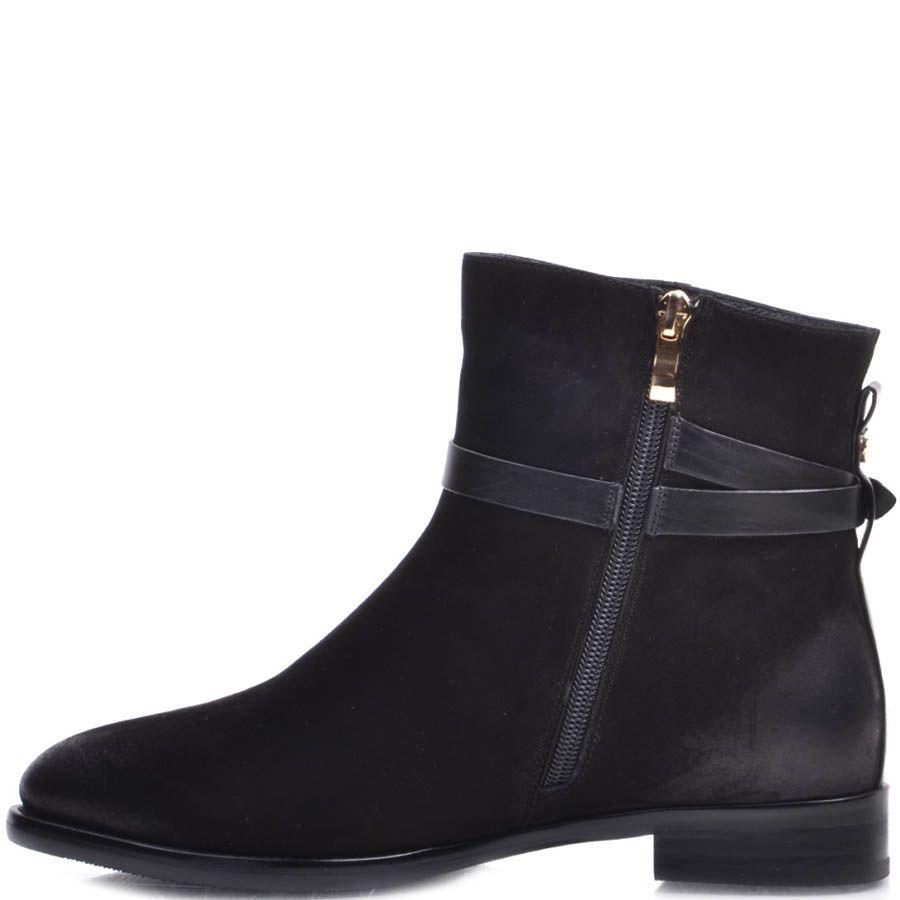 Ботинки Prego зимние черные из нубука с декоративными потертостями на носке и пятке и с ремешком