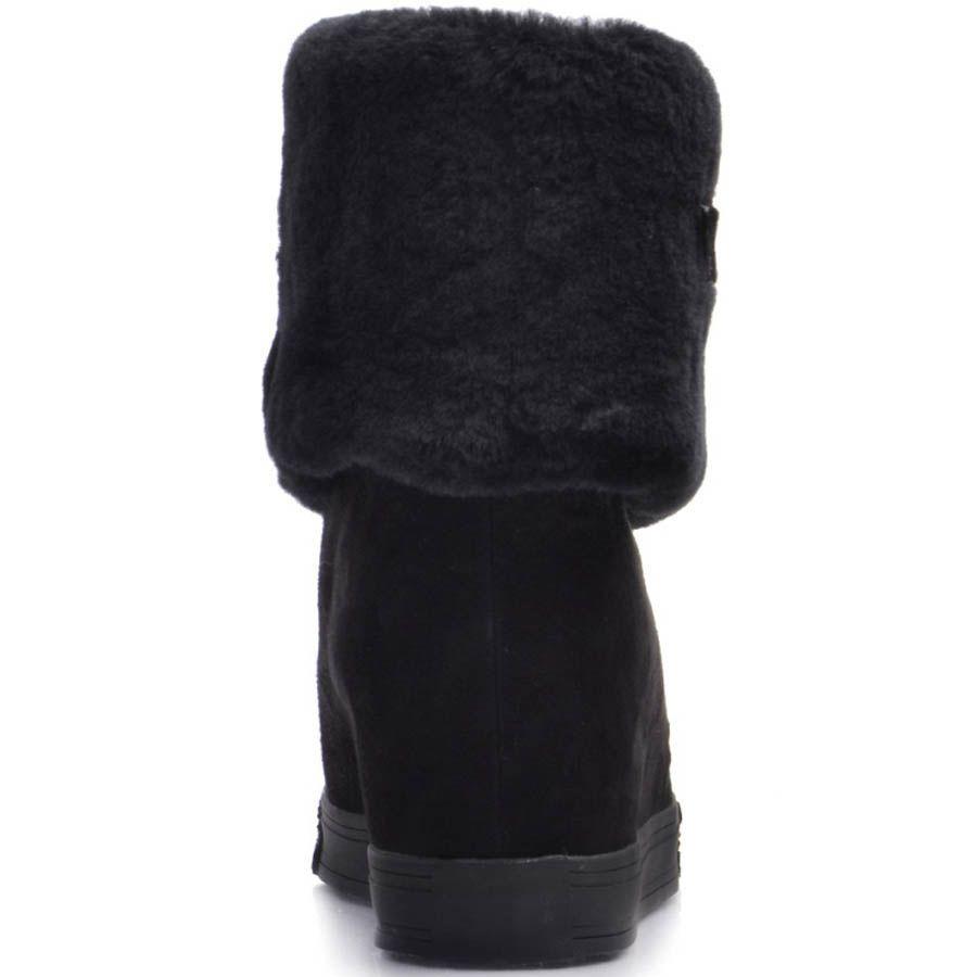 Ботинки Prego зимние черные с меховым отвором украшеным ремешком и с металлической молнией
