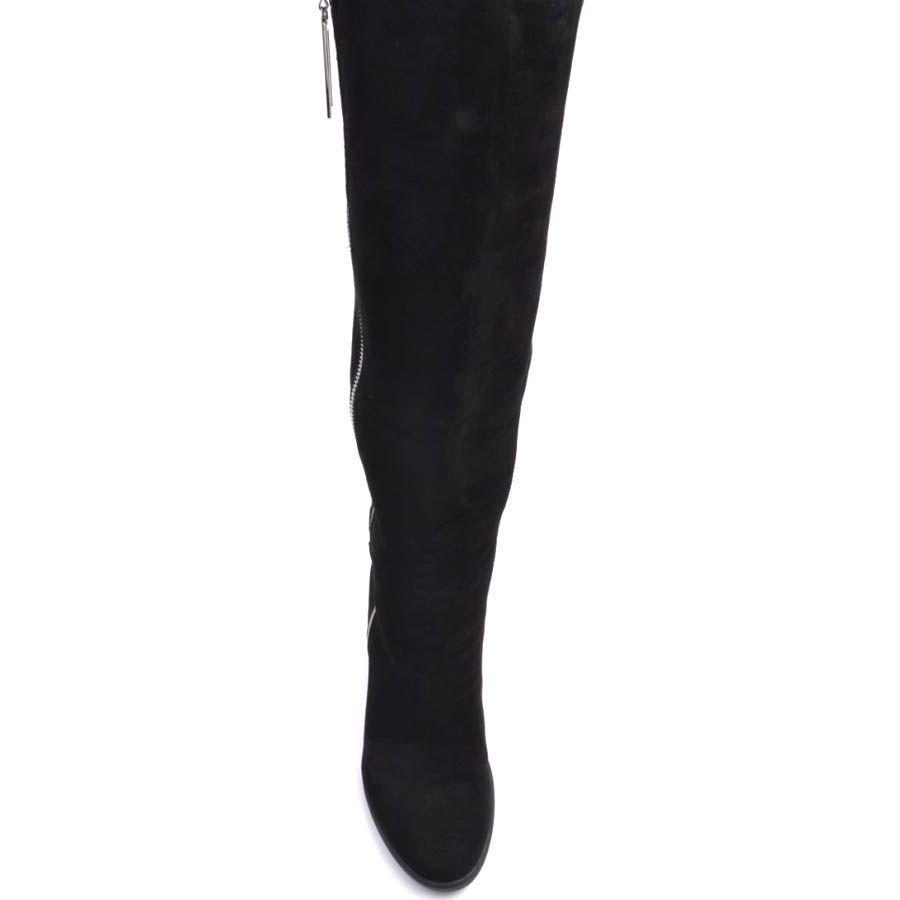 Сапоги Prego зимние замшевые черного цвета со скрытой танкеткой и металлической молнией вдоль всей длины