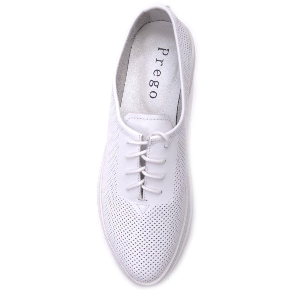 Туфли Prego из натуральной перфорированной кожи белого цвета на шнуровке