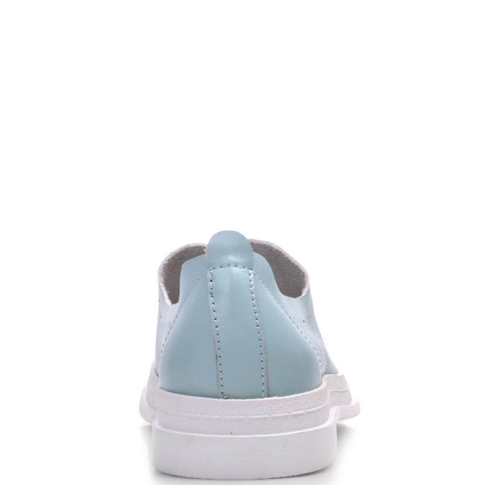 Туфли Prego из натуральной перфорированной кожи бирюзового цвета