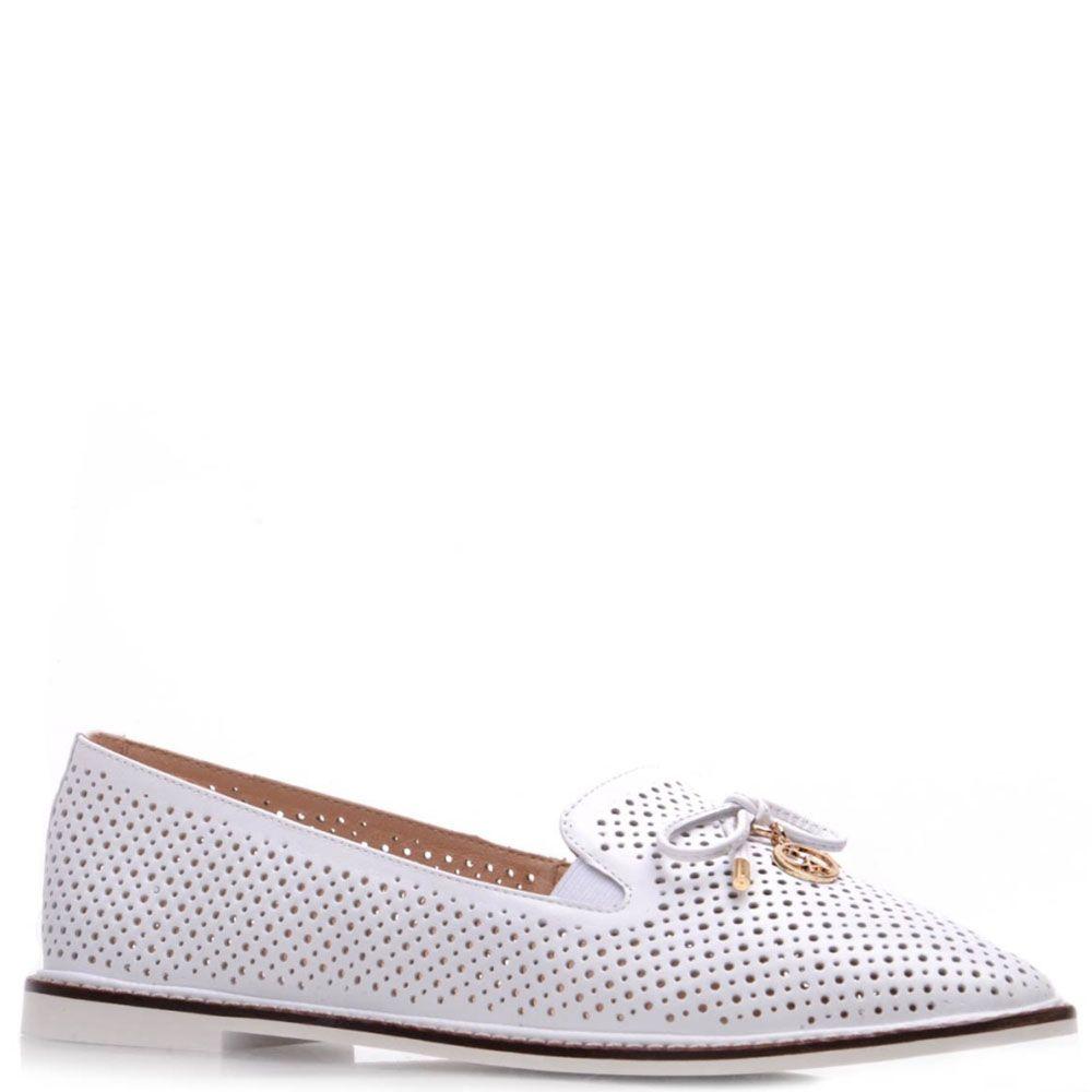 Туфли Prego из натуральной белой перфорированной кожи с бантиком