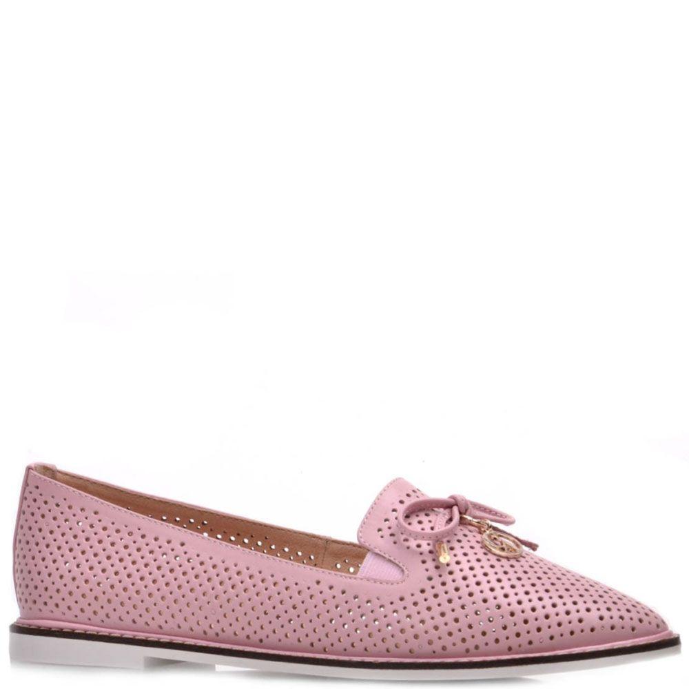 Туфли Prego из кожи розового цвета с перфорацией