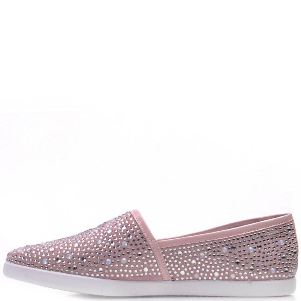 Туфли Prego из натуральной замши розового цвета со стразами по всей поверхности