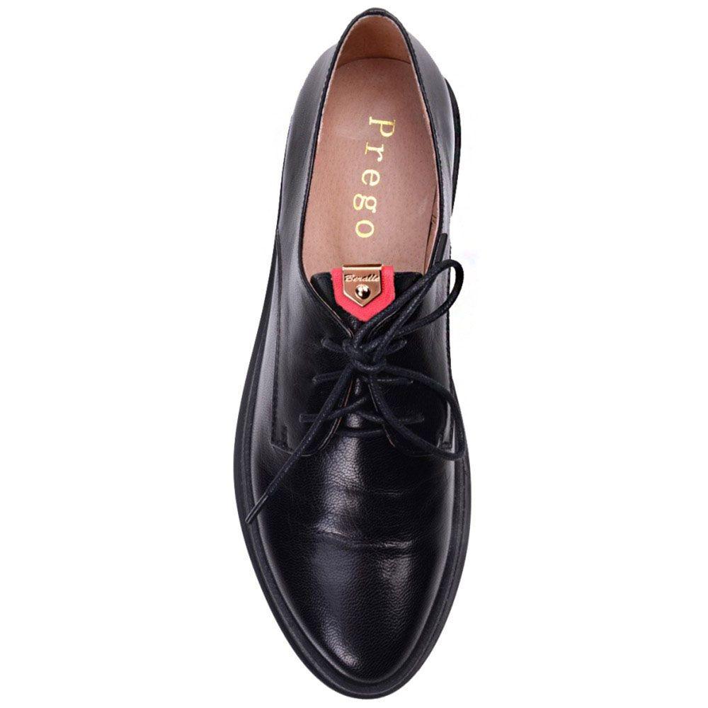 Туфли Prego из натуральной глянцевой кожи черного цвета на низком каблуке