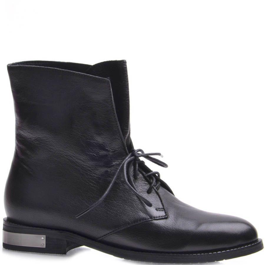Ботинки Grado женские кожаные черного цвета с серебристой металлической вставкой на каблуке