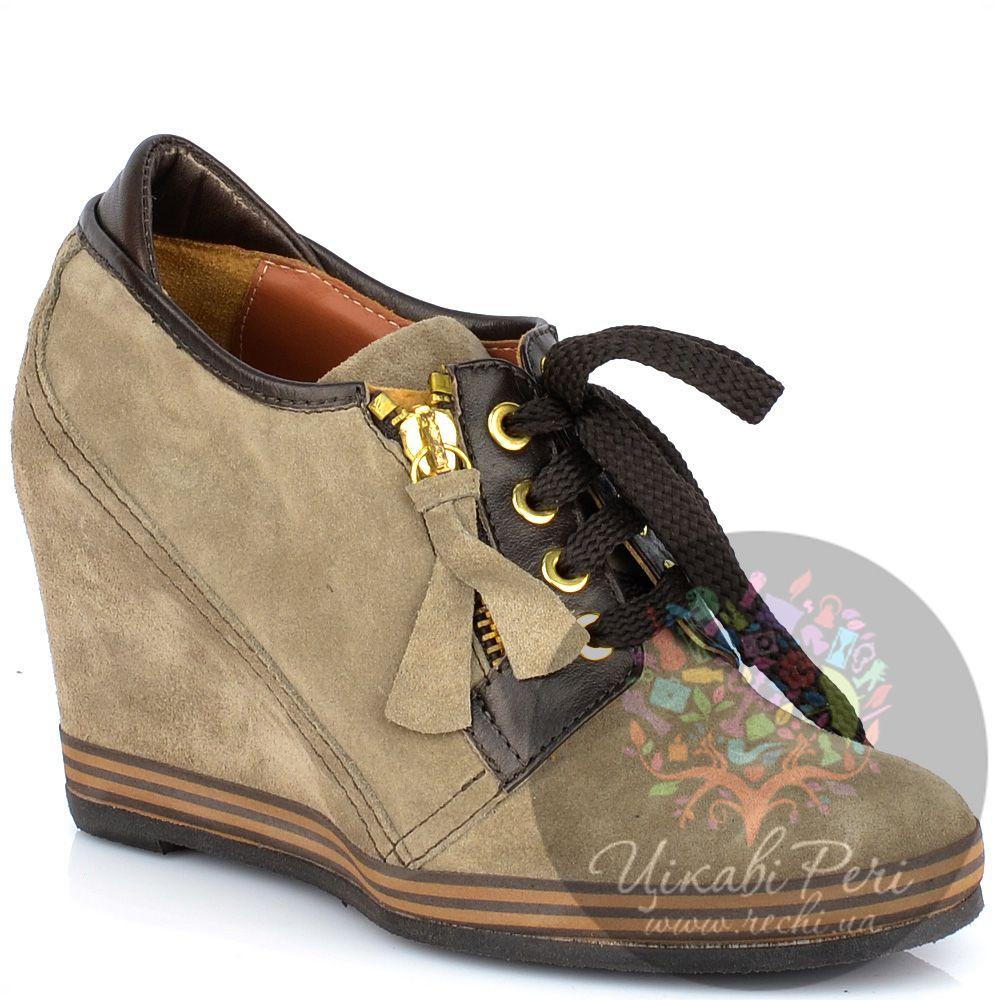 Ботильоны Lady Doc осенние бежевые замшевые на шнуровке