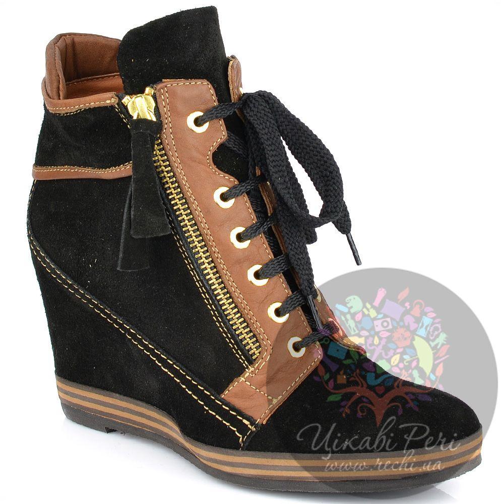Ботинки Lady Doc на танкетке черные замшевые на шнуровке и молнии