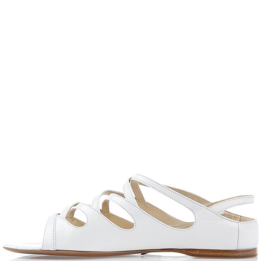 Кожаные босоножки Giordano Torresi Lapis белого цвета на низком ходу