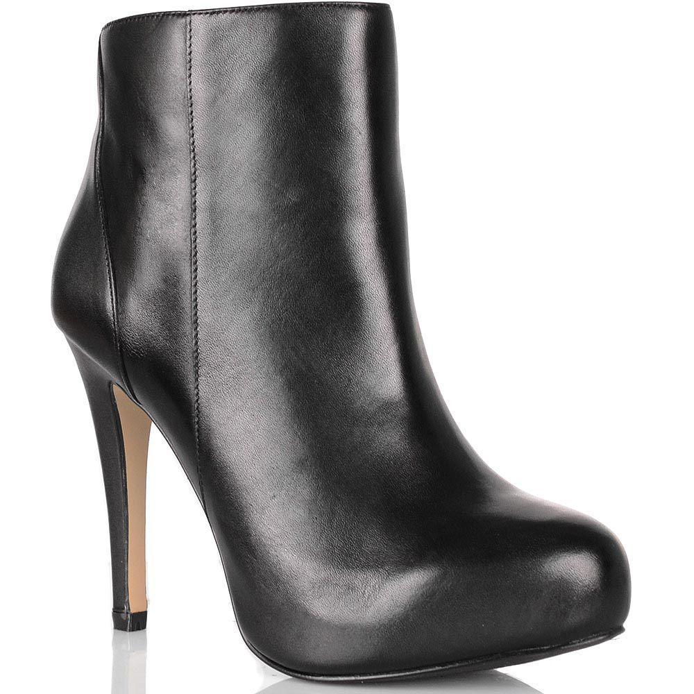 Ботильоны Cafe Noir Linea Glamour кожаные черные высокие на шпильке