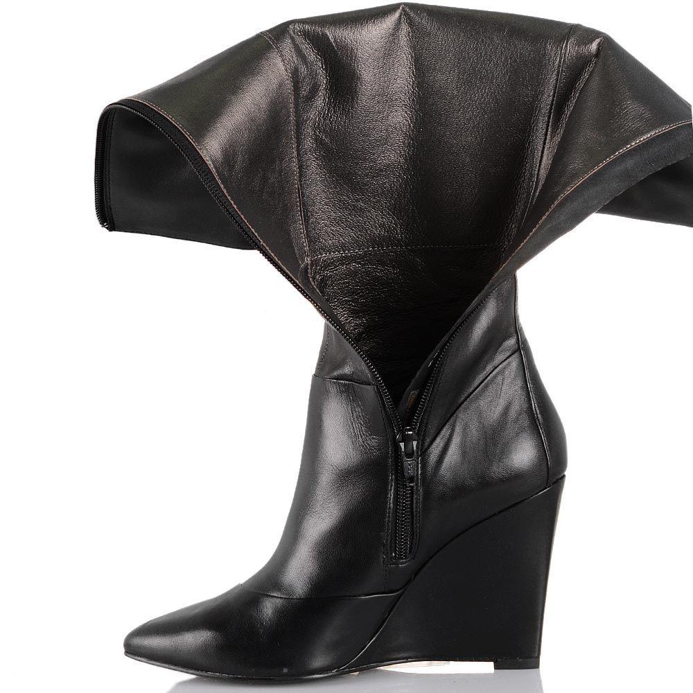 Сапоги Cafe Noir Linea Glamour кожаные черные осенние на изящной танкетке