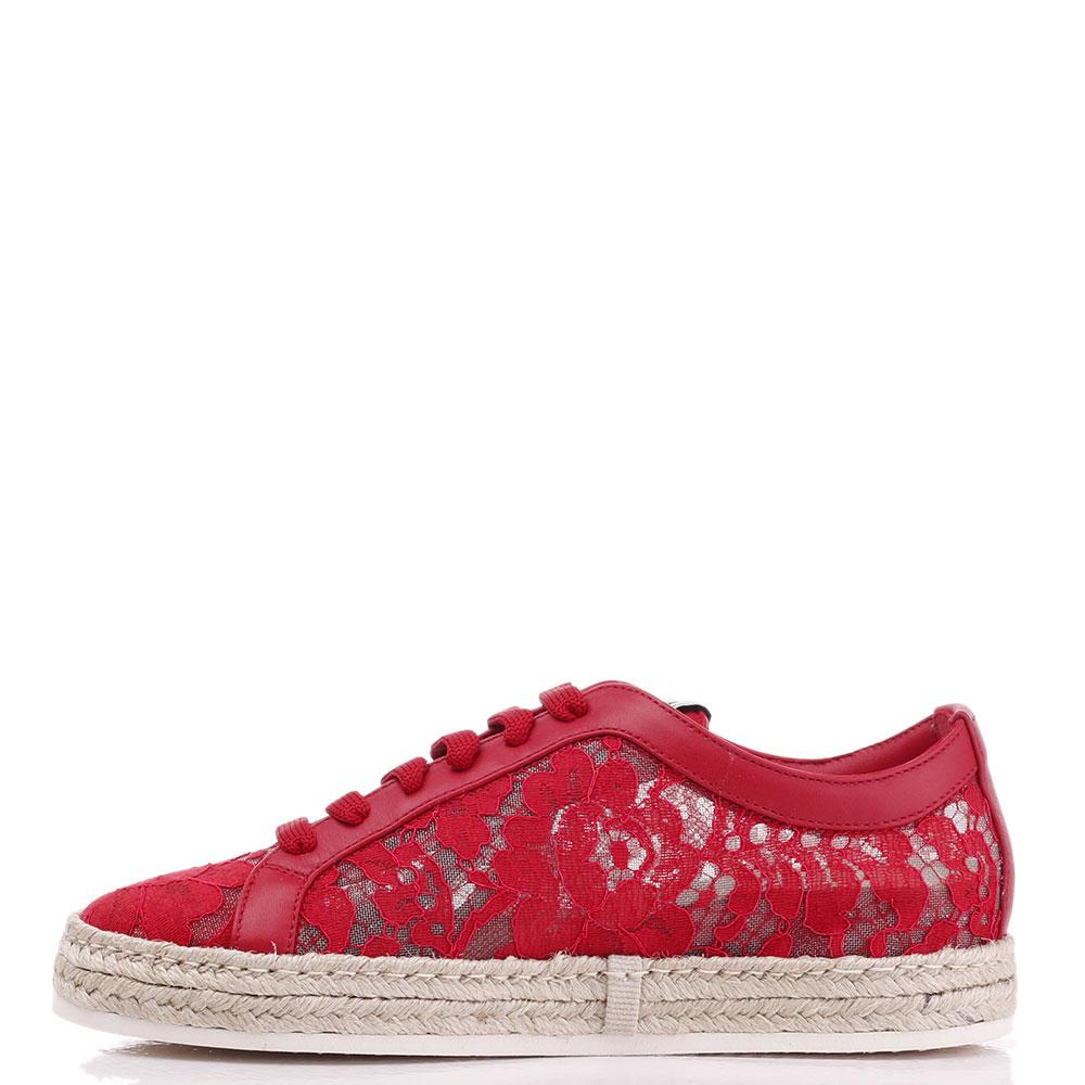 Кружевные кеды Le Silla красного цвета