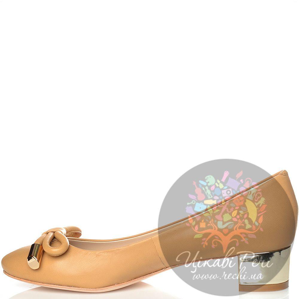 Туфли Laura Mannini кожаные бежевые на низком золотистом каблуке