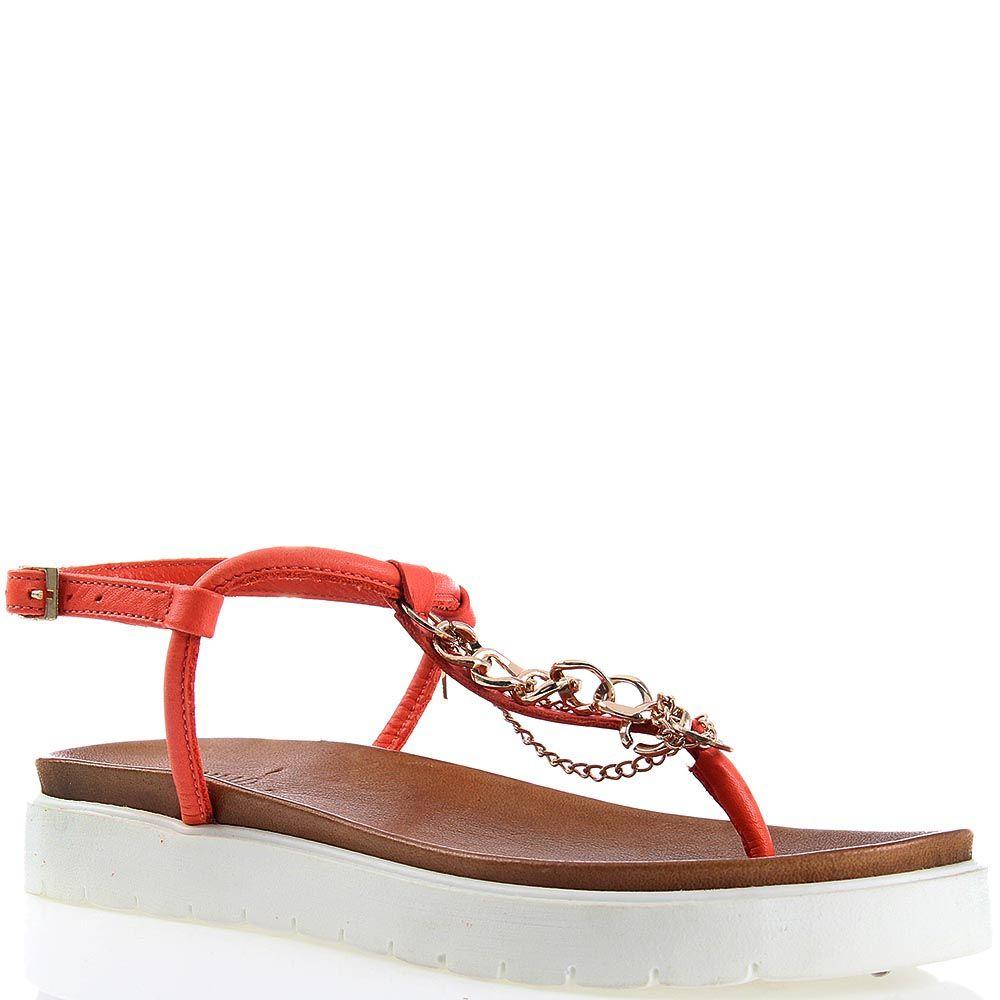 Сандалии Ovye красного цвета с декоративными цепочками