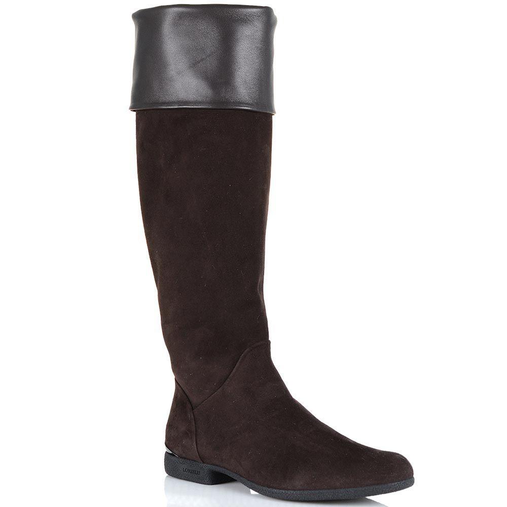 Замшевые ботфорты Loriblu коричневого цвета