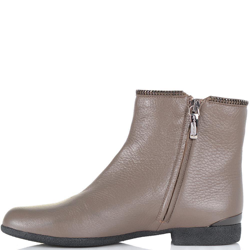 Ботинки Loriblu на низком каблуке серо-бежевого цвета