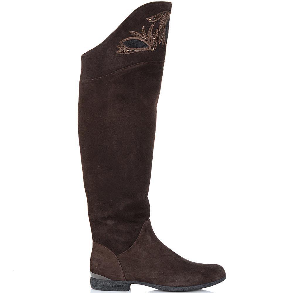 Высокие сапоги Loriblu из коричневой замши с вышивкой