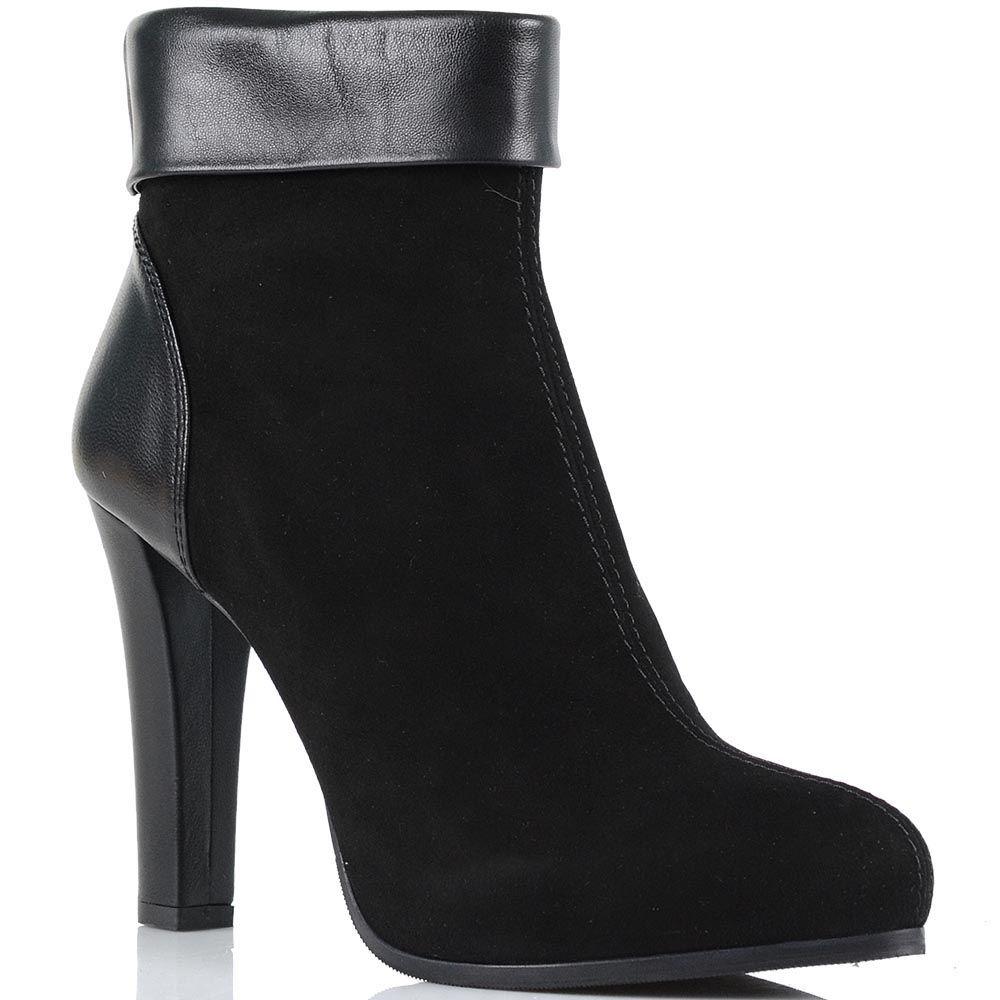 Замшевые ботинки Loriblu с кожаной пяточкой и отворотом