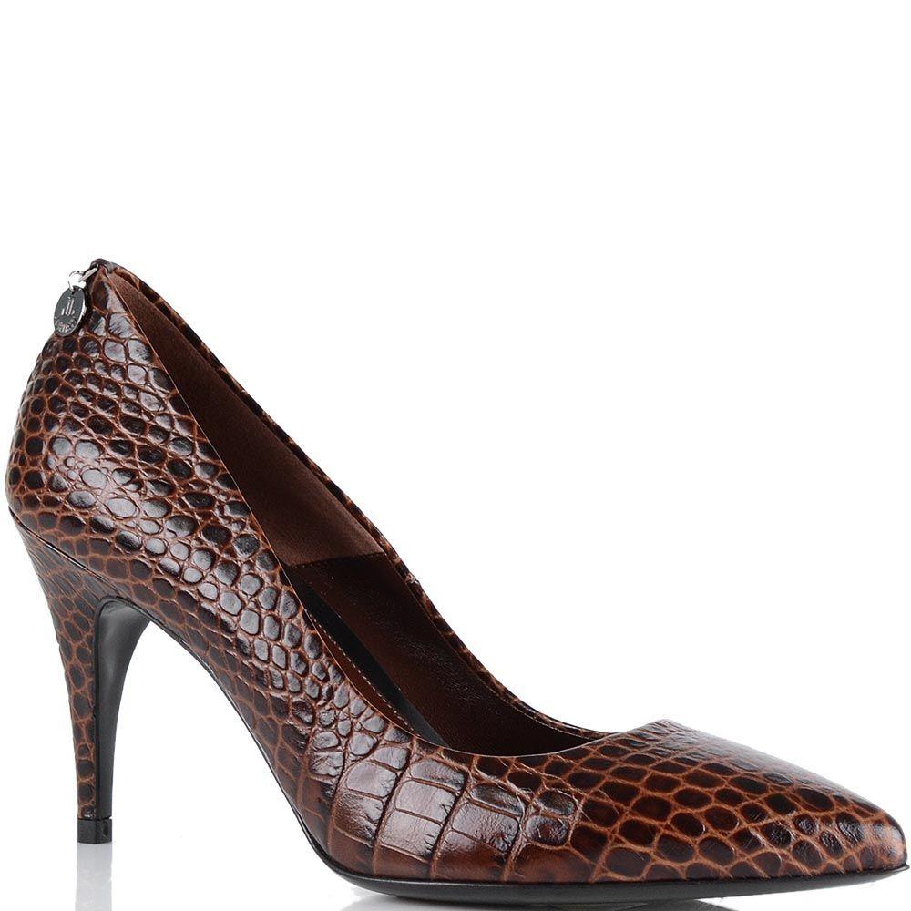 Туфли Loriblu с имитацией кожи рептилии коричневого цвета